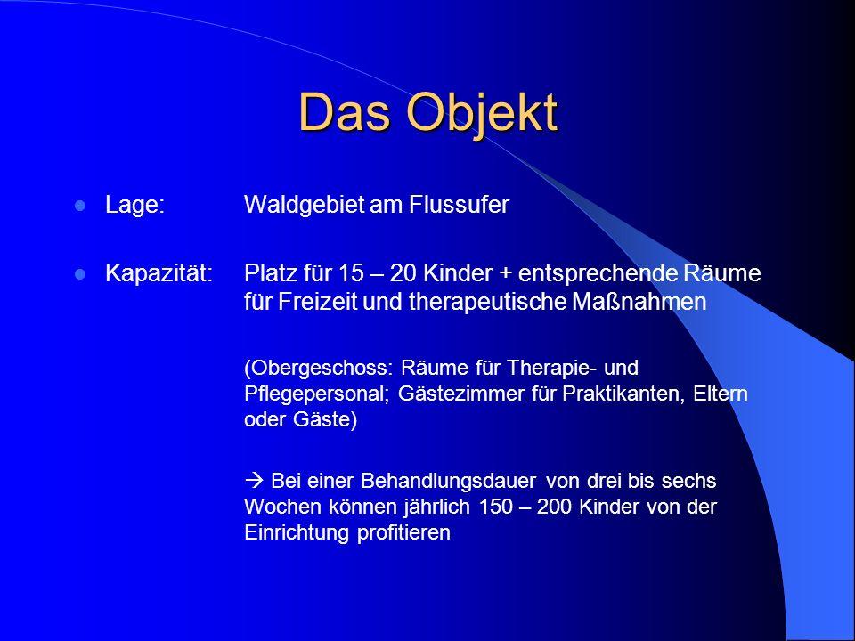 Das Objekt Lage:Waldgebiet am Flussufer Kapazität:Platz für 15 – 20 Kinder + entsprechende Räume für Freizeit und therapeutische Maßnahmen (Obergescho