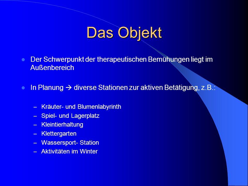 Das Objekt Der Schwerpunkt der therapeutischen Bemühungen liegt im Außenbereich In Planung diverse Stationen zur aktiven Betätigung, z.B.: – Kräuter-