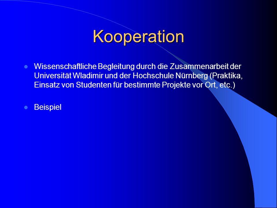 Kooperation Wissenschaftliche Begleitung durch die Zusammenarbeit der Universität Wladimir und der Hochschule Nürnberg (Praktika, Einsatz von Studente
