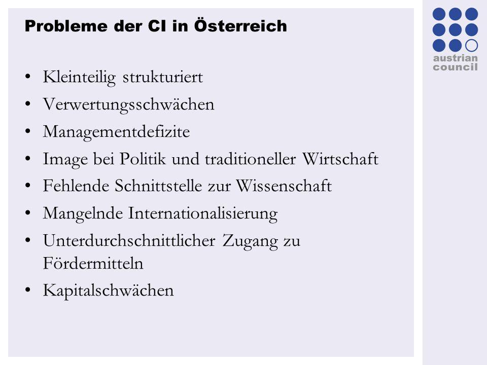 Probleme der CI in Österreich Kleinteilig strukturiert Verwertungsschwächen Managementdefizite Image bei Politik und traditioneller Wirtschaft Fehlend