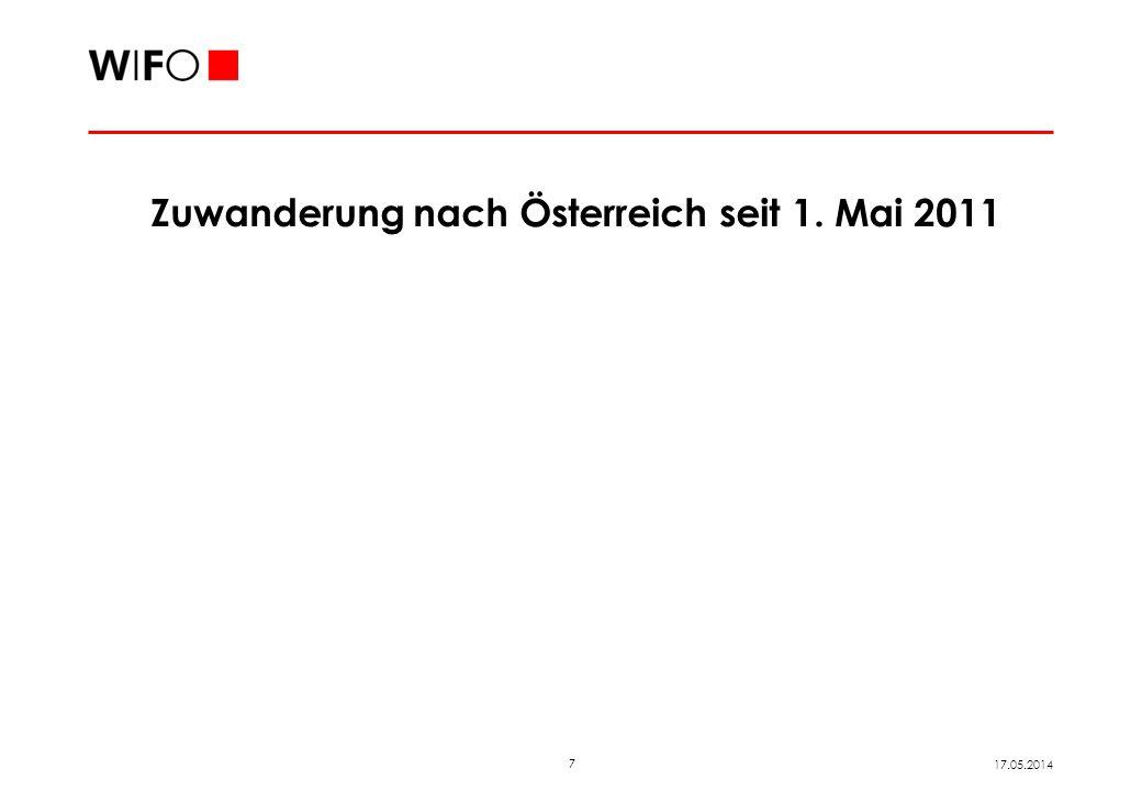7 17.05.2014 Zuwanderung nach Österreich seit 1. Mai 2011
