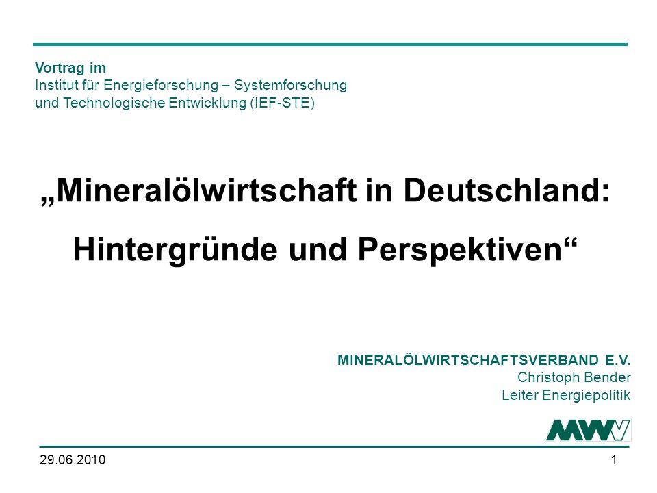 129.06.2010 Mineralölwirtschaft in Deutschland: Hintergründe und Perspektiven MINERALÖLWIRTSCHAFTSVERBAND E.V.