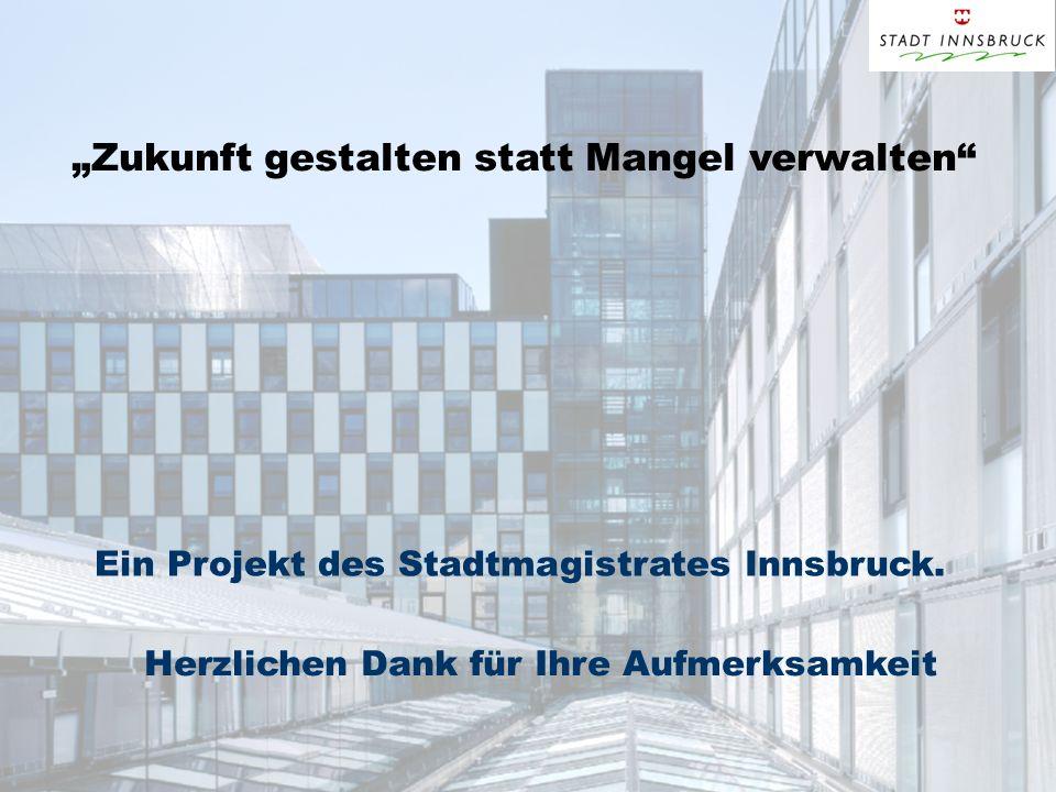 Zukunft gestalten statt Mangel verwalten Ein Projekt des Stadtmagistrates Innsbruck. Herzlichen Dank für Ihre Aufmerksamkeit