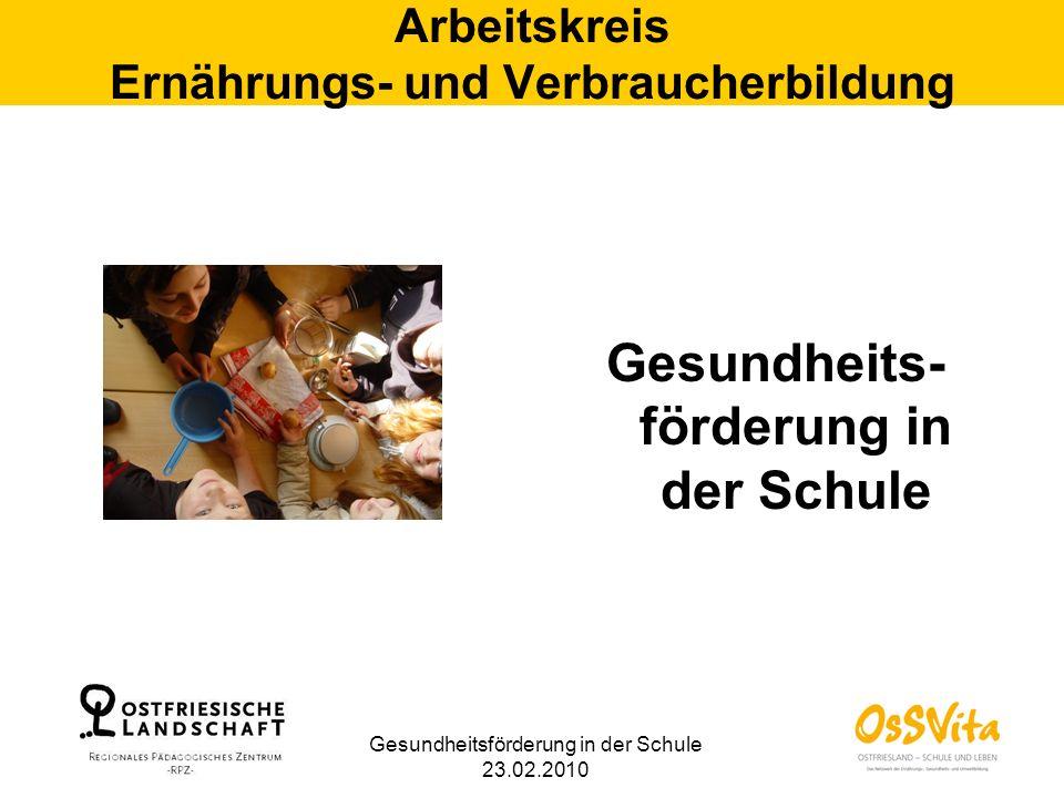 Gesundheitsförderung in der Schule 23.02.2010 Arbeitskreis Ernährungs- und Verbraucherbildung Gesundheits- förderung in der Schule