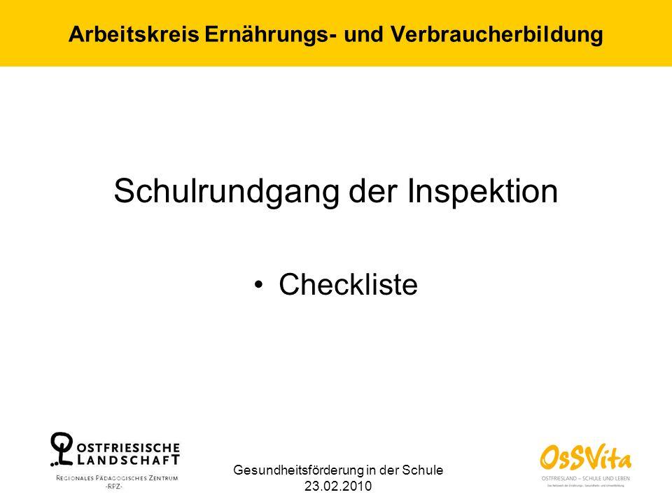 Arbeitskreis Ernährungs- und Verbraucherbildung Schulrundgang der Inspektion Checkliste