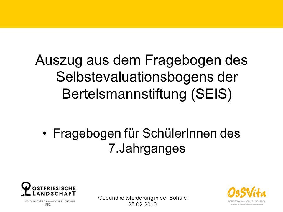 Auszug aus dem Fragebogen des Selbstevaluationsbogens der Bertelsmannstiftung (SEIS) Fragebogen für SchülerInnen des 7.Jahrganges