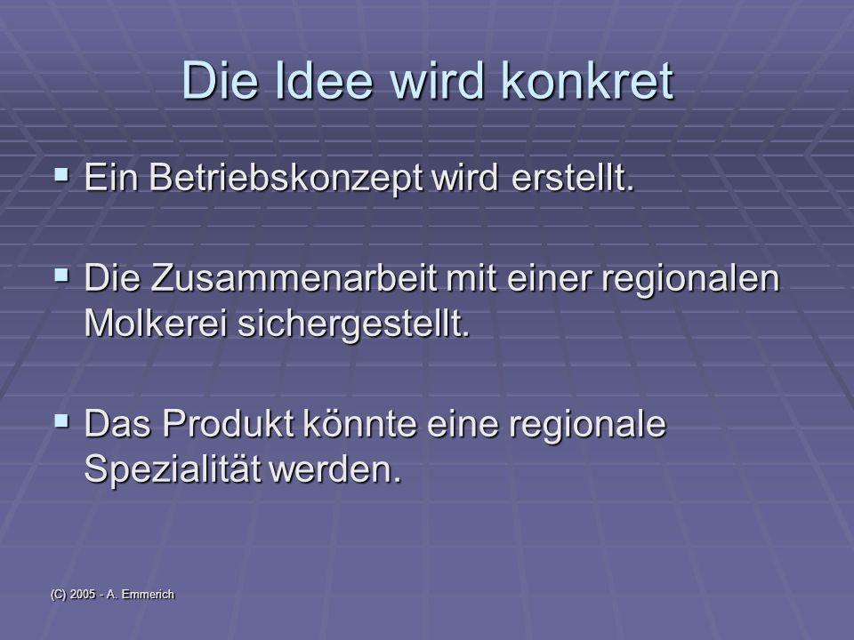 (C) 2005 - A.Emmerich Die Idee wird konkret Ein Betriebskonzept wird erstellt.