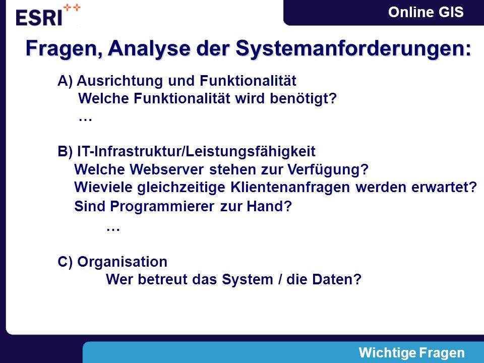 Online GIS Wichtige Fragen Fragen, Analyse der Systemanforderungen: A) Ausrichtung und Funktionalität Welche Funktionalität wird benötigt? … B) IT-Inf