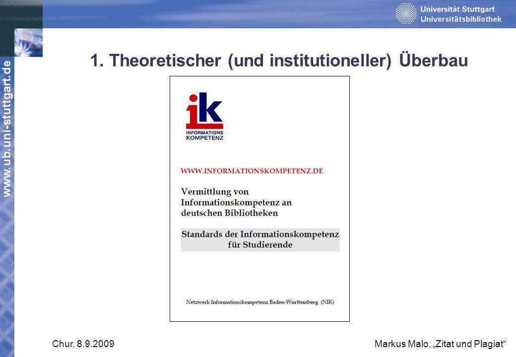 www.ub.uni-stuttgart.de Chur, 8.9.2009Markus Malo, Zitat und Plagiat 1. Theoretischer (und institutioneller) Überbau