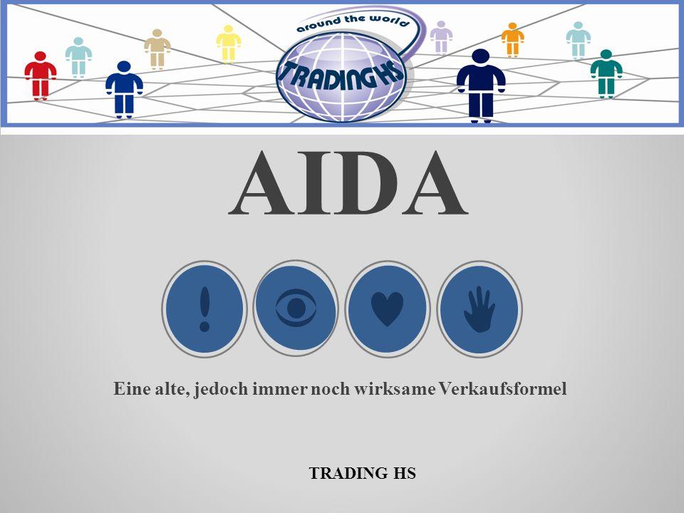 AIDA Verkaufsformel ATTENTAION- Aufmerksamkeit DESIRE Wünsche erzeugen INTEREST Interesse wecken ACTION Abschluss TRADING HS