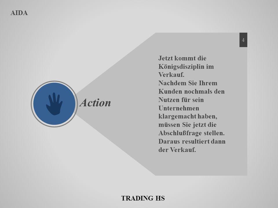 AIDA Action Jetzt kommt die Königsdisziplin im Verkauf. Nachdem Sie Ihrem Kunden nochmals den Nutzen für sein Unternehmen klargemacht haben, müssen Si
