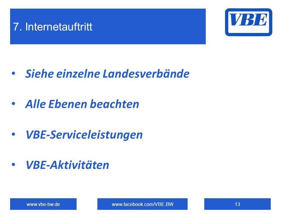 7. Internetauftritt www.vbe-bw.dewww.facebook.com/VBE.BW13 Siehe einzelne Landesverbände Alle Ebenen beachten VBE-Serviceleistungen VBE-Aktivitäten