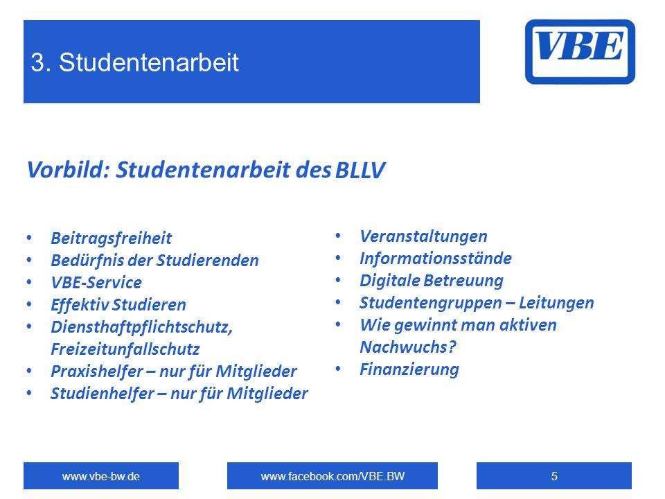 3. Studentenarbeit www.vbe-bw.dewww.facebook.com/VBE.BW5 Vorbild: Studentenarbeit des Beitragsfreiheit Bedürfnis der Studierenden VBE-Service Effektiv