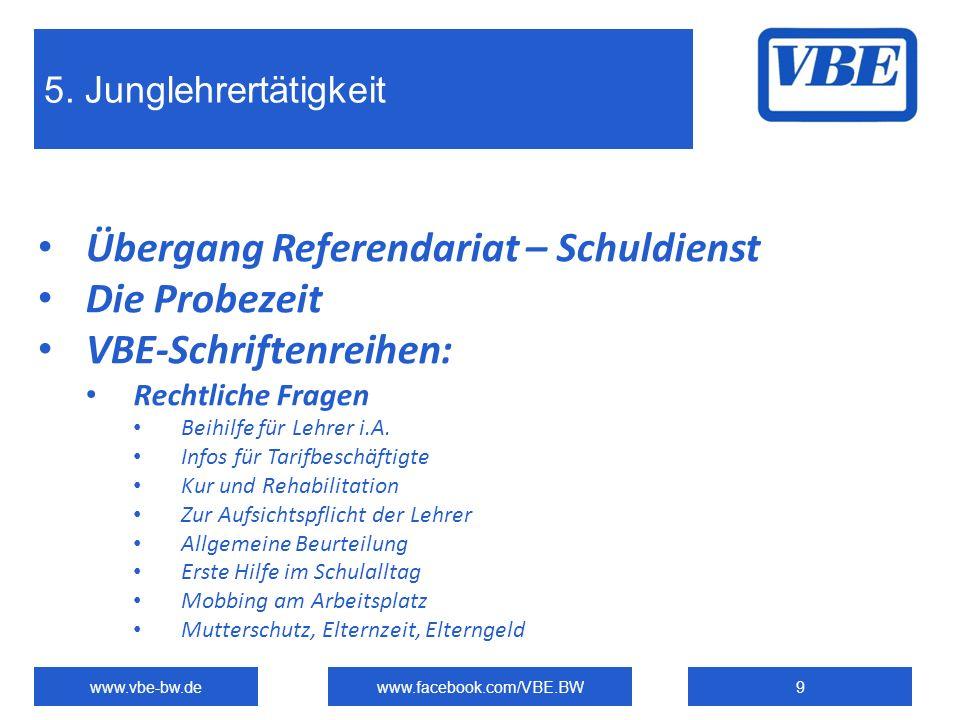 5. Junglehrertätigkeit www.vbe-bw.dewww.facebook.com/VBE.BW9 Übergang Referendariat – Schuldienst Die Probezeit VBE-Schriftenreihen: Rechtliche Fragen