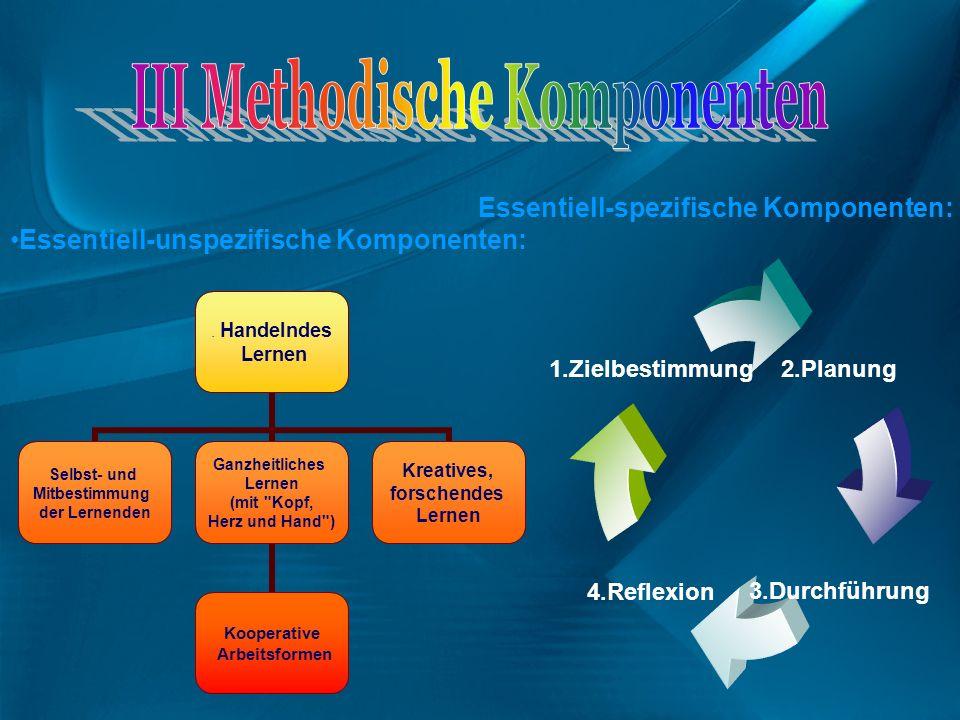 2.Planung 3.Durchführung4.Reflexion 1.Zielbestimmung Essentiell-spezifische Komponenten: Essentiell-unspezifische Komponenten:. Handelndes Lernen Selb