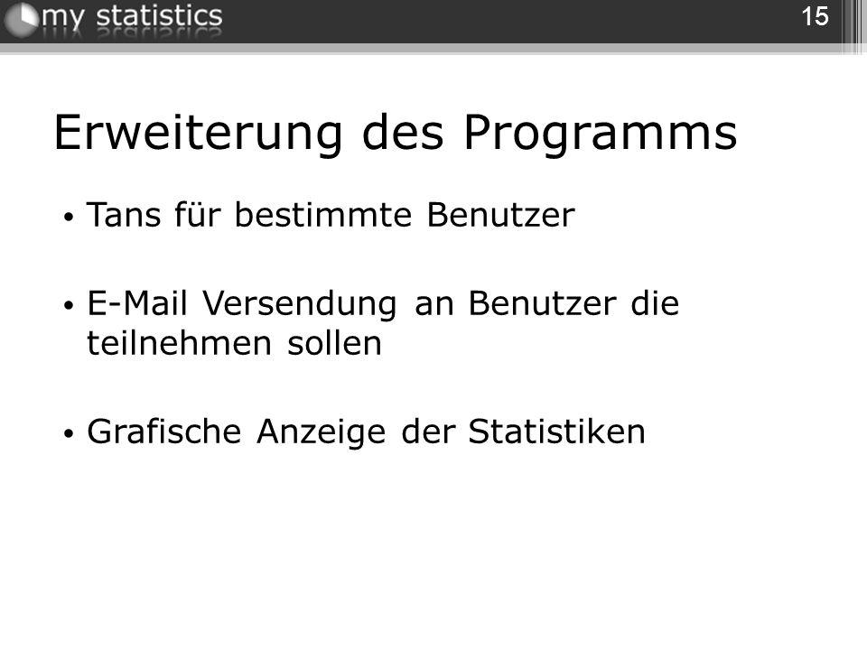 Erweiterung des Programms Tans für bestimmte Benutzer E-Mail Versendung an Benutzer die teilnehmen sollen Grafische Anzeige der Statistiken 15