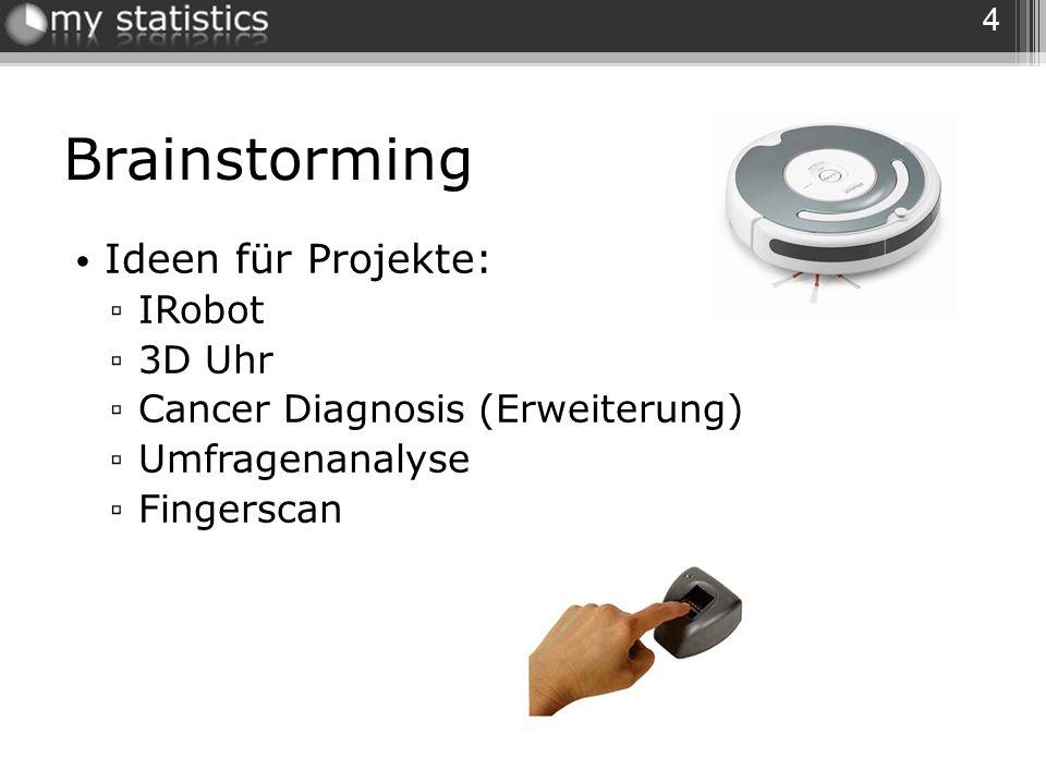 Brainstorming Ideen für Projekte: IRobot 3D Uhr Cancer Diagnosis (Erweiterung) Umfragenanalyse Fingerscan 4