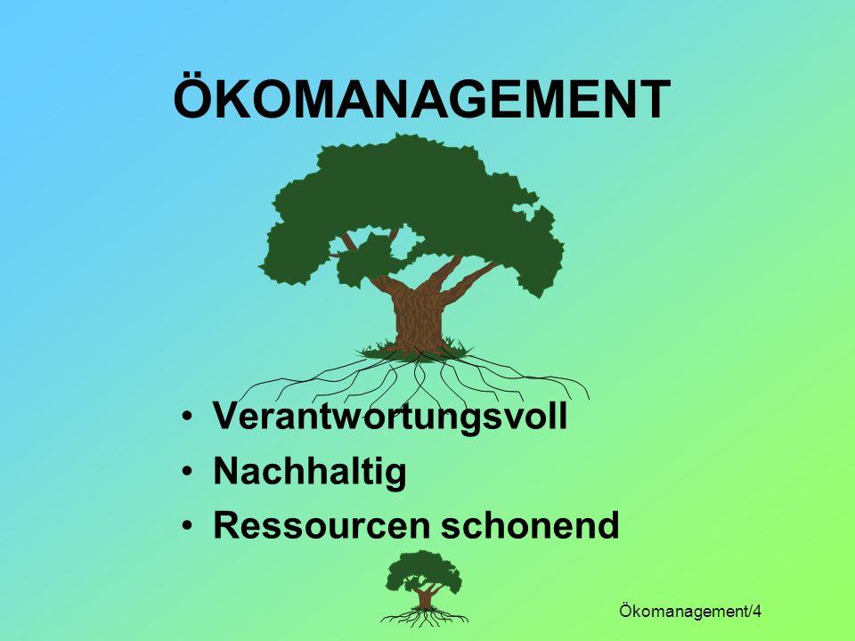 Ökomanagement/4 ÖKOMANAGEMENT Verantwortungsvoll Nachhaltig Ressourcen schonend