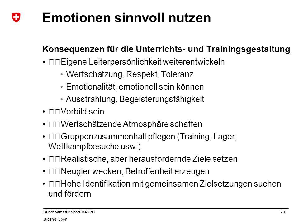 29 Bundesamt für Sport BASPO Jugend+Sport Emotionen sinnvoll nutzen Konsequenzen für die Unterrichts- und Trainingsgestaltung Eigene Leiterpersönlic