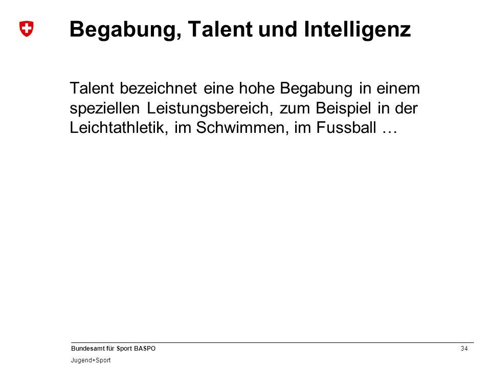 34 Bundesamt für Sport BASPO Jugend+Sport Begabung, Talent und Intelligenz Talent bezeichnet eine hohe Begabung in einem speziellen Leistungsbereich,