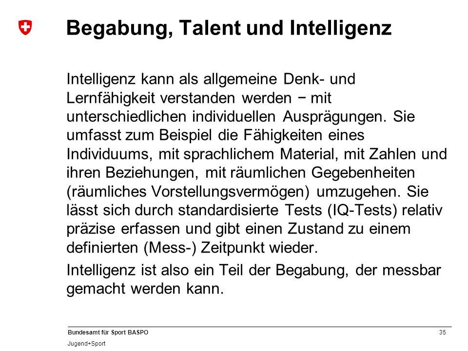 35 Bundesamt für Sport BASPO Jugend+Sport Begabung, Talent und Intelligenz Intelligenz kann als allgemeine Denk- und Lernfähigkeit verstanden werden m