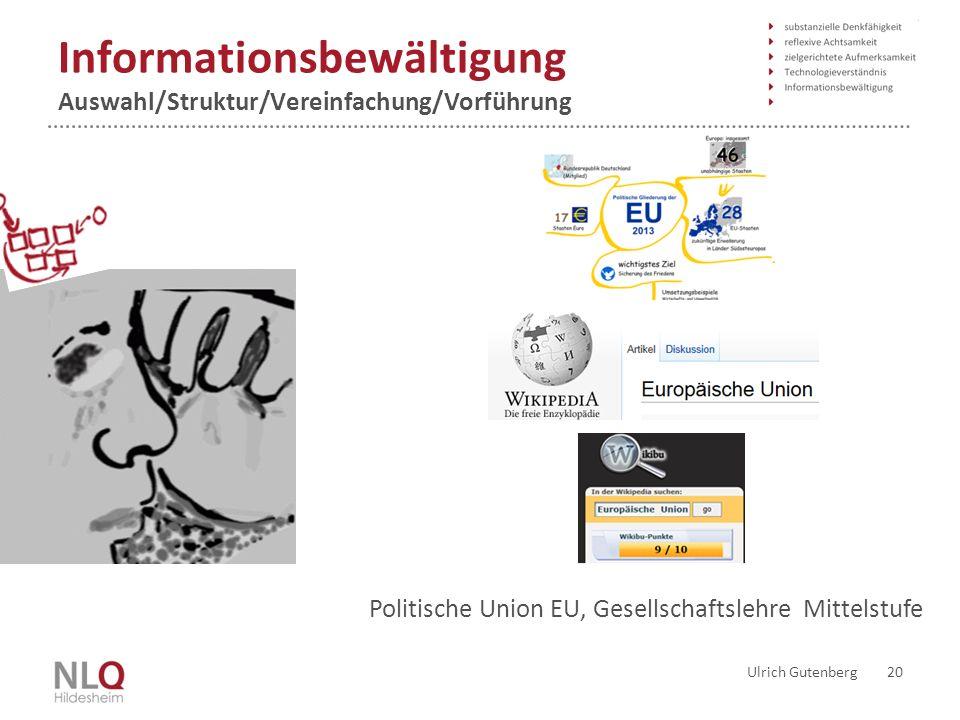 Informationsbewältigung Auswahl/Struktur/Vereinfachung/Vorführung Ulrich Gutenberg 20 Politische Union EU, Gesellschaftslehre Mittelstufe