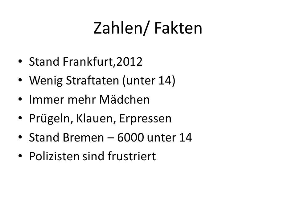 Zahlen/ Fakten Stand Frankfurt,2012 Wenig Straftaten (unter 14) Immer mehr Mädchen Prügeln, Klauen, Erpressen Stand Bremen – 6000 unter 14 Polizisten sind frustriert