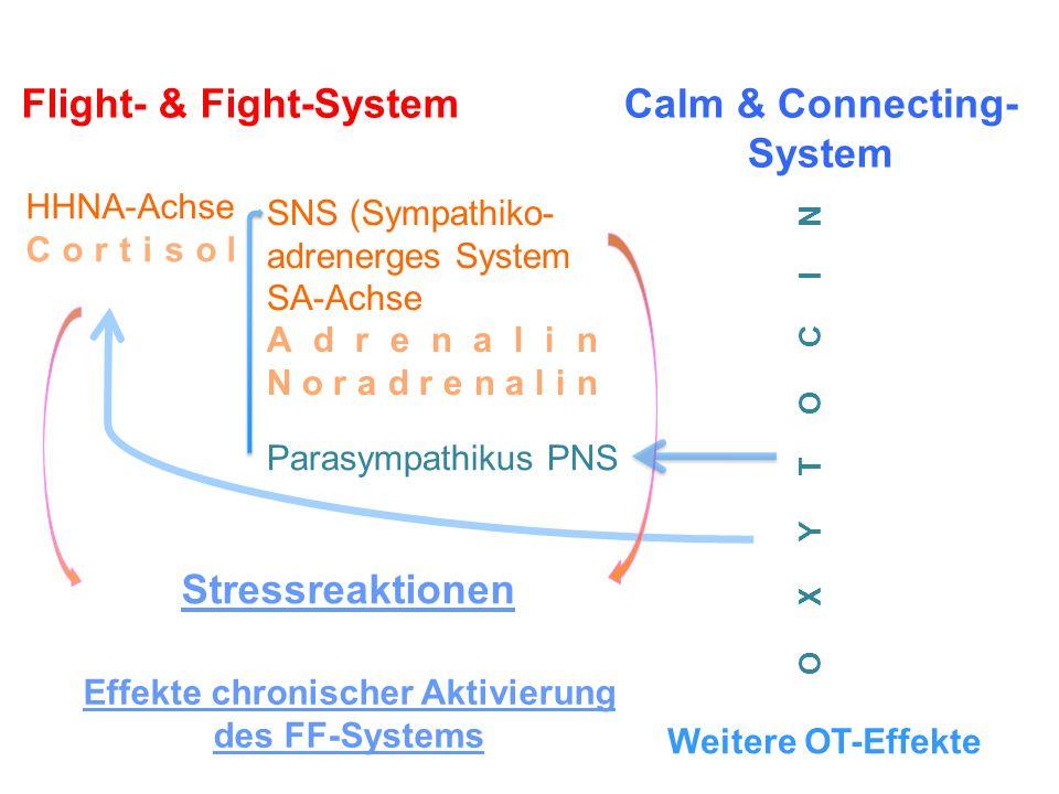 Weitere Oxytocin-Effekte - erhöhtes Vertrauen - erleichtert soziales Annäherungsverhalten - reduziert soziale Ängstlichkeit - erhöht die Fähigkeit, den emotionalen Zustand eines anderen aus dessen Gesichtsausdruck zu erschließen (Empathie) - erleichtert die Speicherung sozial positiver Emotionen und Interaktionen Oxytocin-Effekte = affektive, kognitive und behaviorale Bausteine für den Aufbau sowie die Aufrechterhaltung gelingender Beziehungen