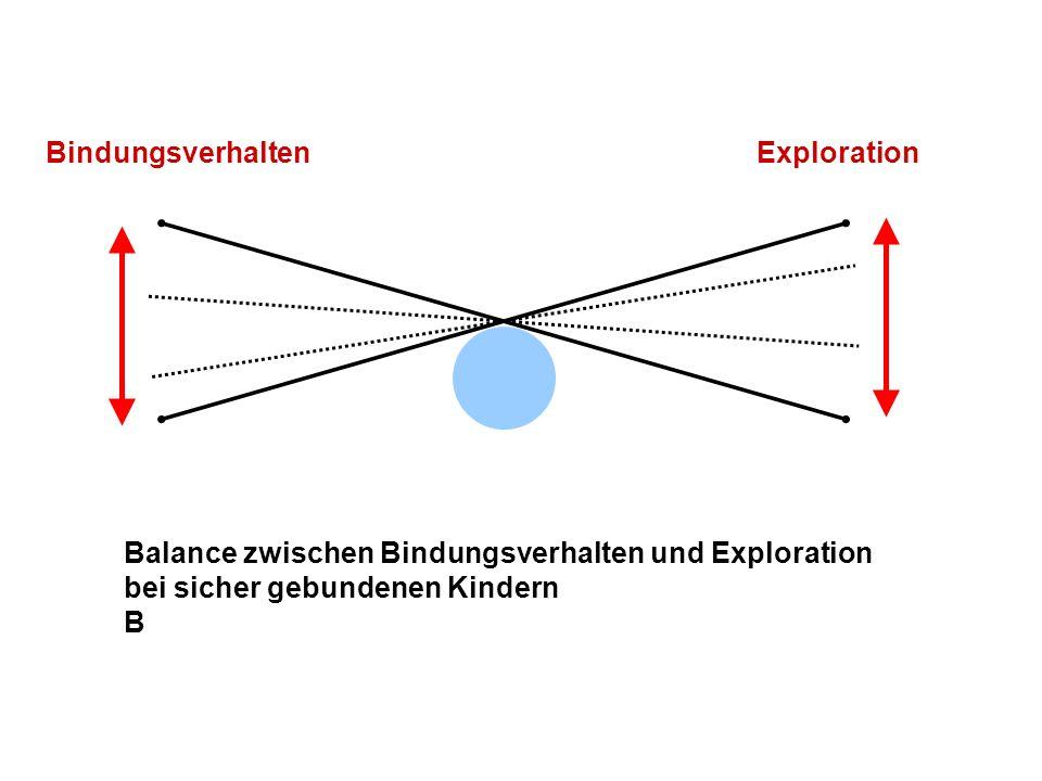 Übergewicht des Explorationsverhaltens gegenüber dem Bindungsverhalten bei vermeidend gebundenen Kindern A Exploration Bindungsverhalten