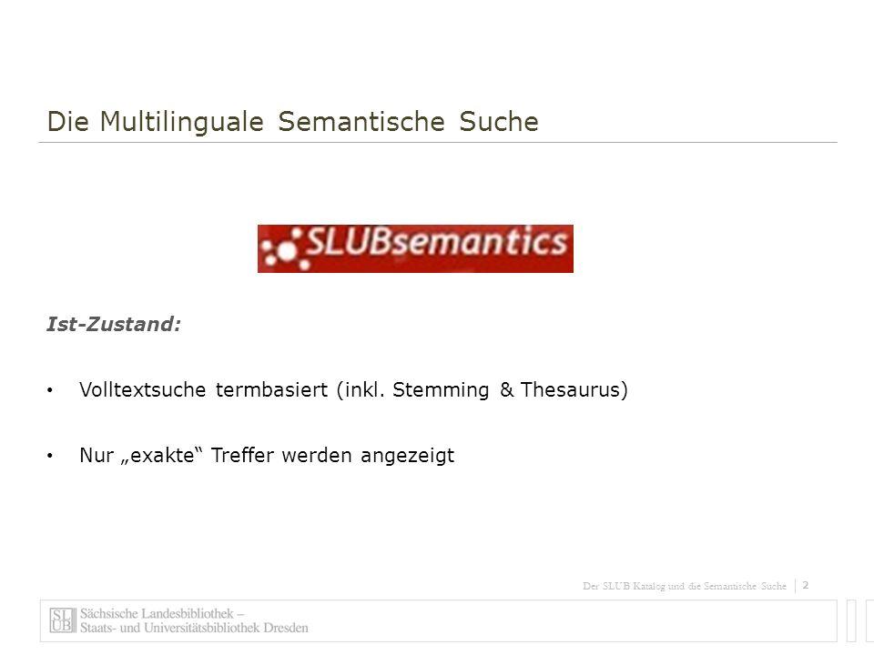 3 Der SLUB Katalog und die Semantische Suche Die Multilinguale Semantische Suche Ziel: Verbesserung des Katalog-Retrievals Disambiguierung der Suchanfrage und Semantisierung der Katalogsuche Multilinguale Suche Thematisches Browsing (auch graphisch)