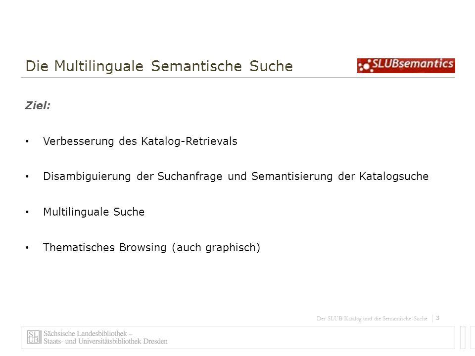 4 Der SLUB Katalog und die Semantische Suche Die Multilinguale Semantische Suche Vorgehen: Erkennung der Sprache des Suchterms Übersetzung und Konzeptbildung via Wikipedia Anreicherung der Metadaten mit den relevantesten Wikipedia-Konzepten Facettengenerierung aus Wikipedia-Kategorien