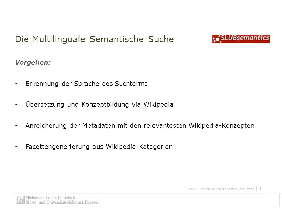 5 Der SLUB Katalog und die Semantische Suche Die Multilinguale Semantische Suche Ergebnis: Sprachraum Deutsch, Englisch und Polnisch 120 Mill.