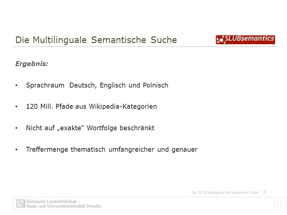6 Der SLUB Katalog und die Semantische Suche Die Multilinguale Semantische Suche Live-Demo Anwendungsfall: Korrekter Name / Begriff unbekannt Hauptstadt burkina faso