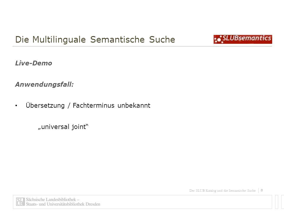 Der SLUB Katalog und die Semantische Suche Danke für Ihre Aufmerksamkeit.