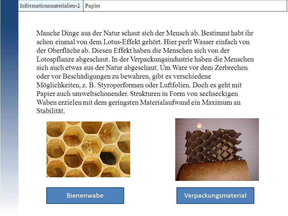 Informationsmaterialien-2 Papier Manche Dinge aus der Natur schaut sich der Mensch ab. Bestimmt habt ihr schon einmal von dem Lotus-Effekt gehört. Hie