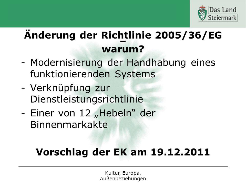 Änderung der Richtlinie 2005/36/EG – warum? -Modernisierung der Handhabung eines funktionierenden Systems -Verknüpfung zur Dienstleistungsrichtlinie -