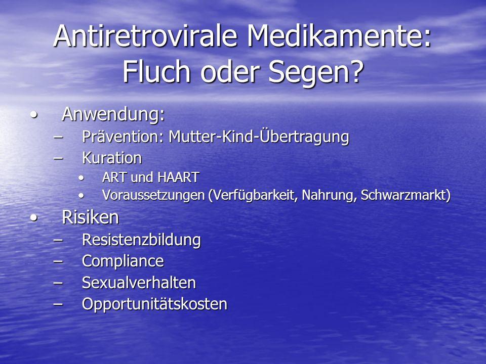 Antiretrovirale Medikamente: Fluch oder Segen? Anwendung:Anwendung: –Prävention: Mutter-Kind-Übertragung –Kuration ART und HAARTART und HAART Vorausse