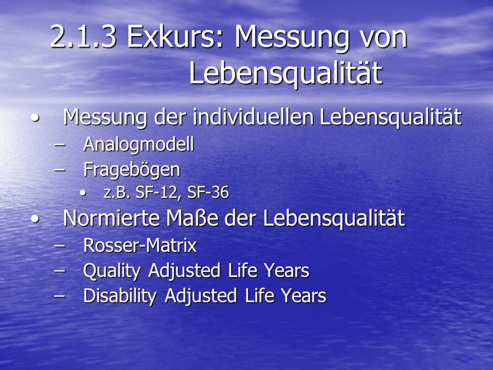 2.1.3 Exkurs: Messung von Lebensqualität Messung der individuellen LebensqualitätMessung der individuellen Lebensqualität –Analogmodell –Fragebögen z.