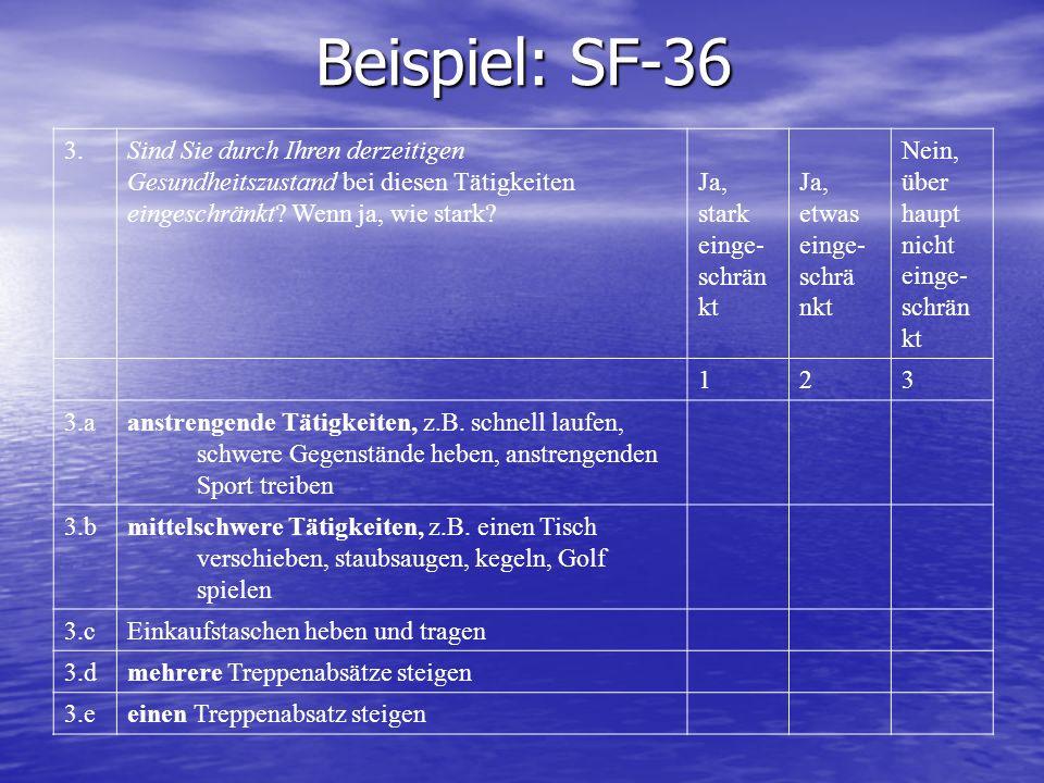 Beispiel: SF-36 3.Sind Sie durch Ihren derzeitigen Gesundheitszustand bei diesen Tätigkeiten eingeschränkt? Wenn ja, wie stark? Ja, stark einge- schrä