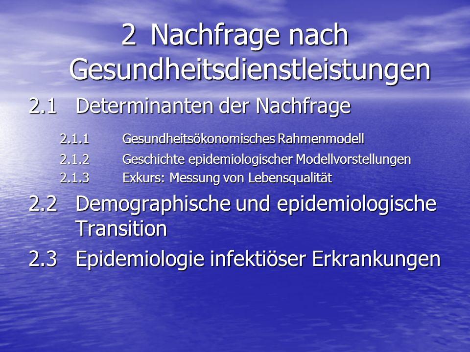 2 Nachfrage nach Gesundheitsdienstleistungen 2.1 Determinanten der Nachfrage 2.1.1 Gesundheitsökonomisches Rahmenmodell 2.1.2 Geschichte epidemiologis