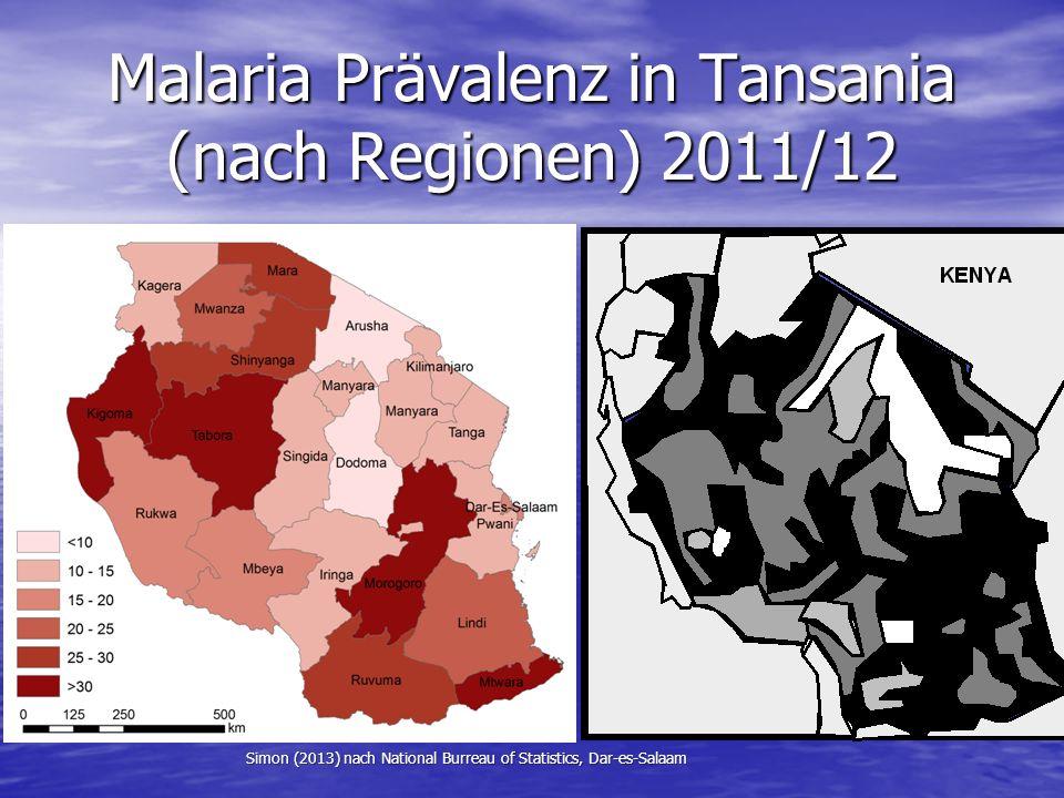 Malaria Prävalenz in Tansania (nach Regionen) 2011/12 Simon (2013) nach National Burreau of Statistics, Dar-es-Salaam