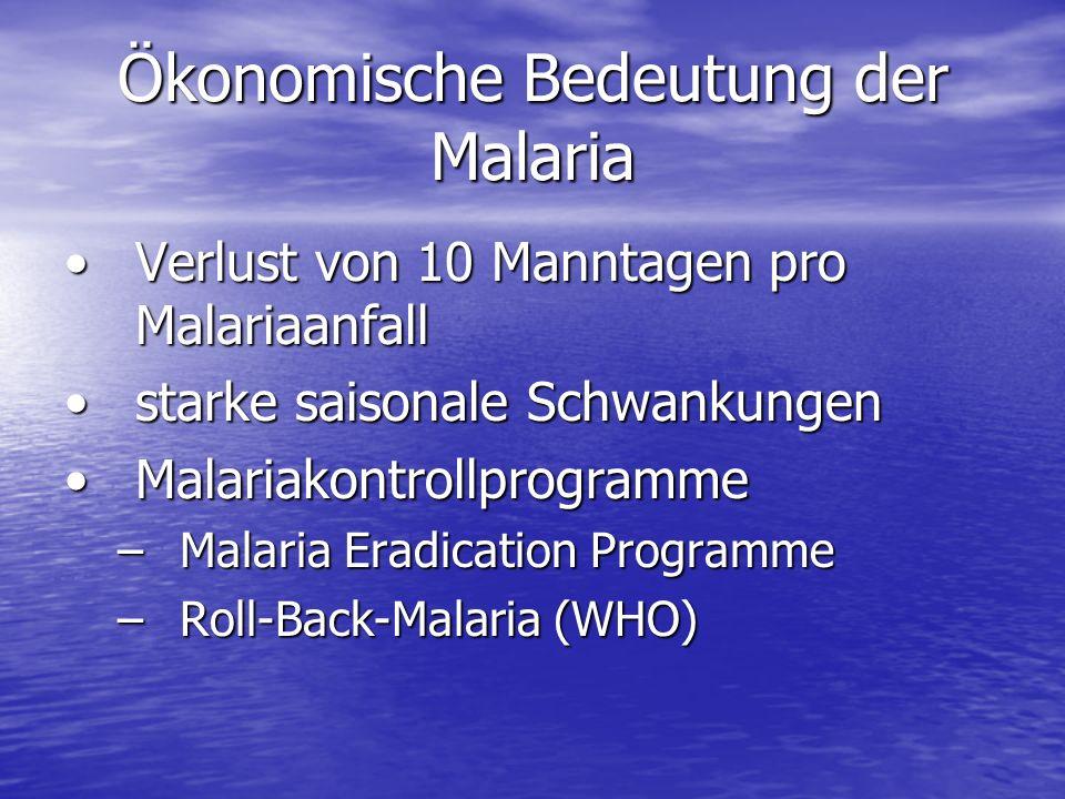 Ökonomische Bedeutung der Malaria Verlust von 10 Manntagen pro MalariaanfallVerlust von 10 Manntagen pro Malariaanfall starke saisonale Schwankungenst