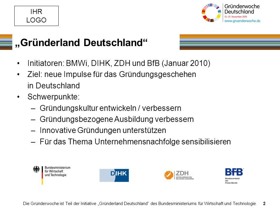 IHR LOGO Gründerland Deutschland Die Gründerwoche ist Teil der Initiative Gründerland Deutschland des Bundesministeriums für Wirtschaft und Technologie.