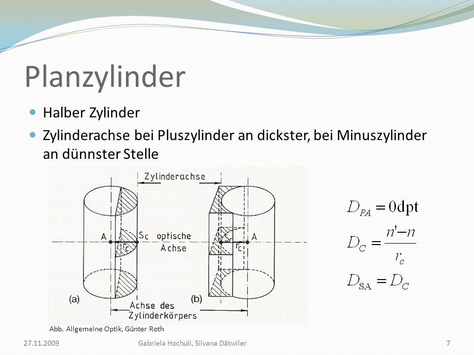 Sphärozylinder Plane Fläche durch sphärische ersetzt 27.11.2009Gabriela Hochuli, Silvana Dätwiler8 Abb.