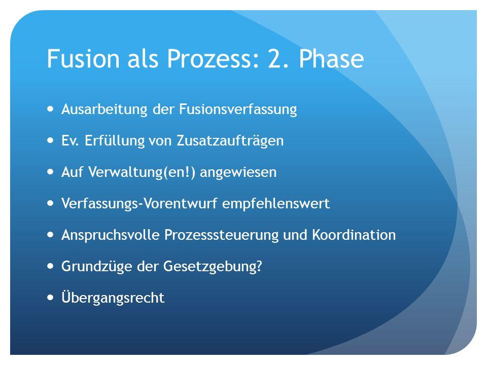 Fusion als Prozess: 2. Phase Ausarbeitung der Fusionsverfassung Ev. Erfüllung von Zusatzaufträgen Auf Verwaltung(en!) angewiesen Verfassungs-Vorentwur
