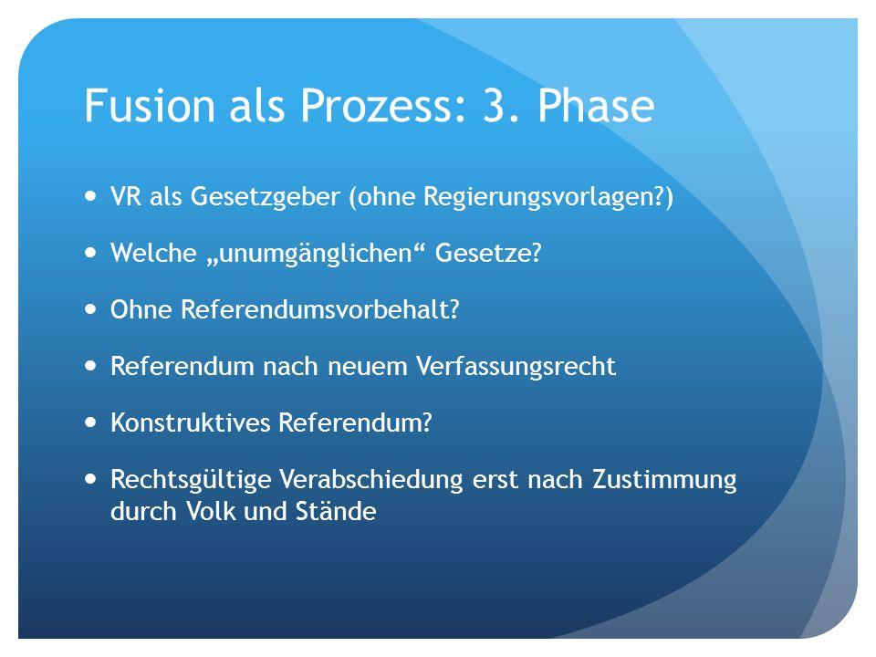 Fusion als Prozess: 3. Phase VR als Gesetzgeber (ohne Regierungsvorlagen?) Welche unumgänglichen Gesetze? Ohne Referendumsvorbehalt? Referendum nach n