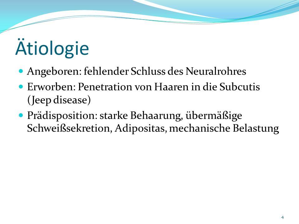 Ätiologie Angeboren: fehlender Schluss des Neuralrohres Erworben: Penetration von Haaren in die Subcutis (Jeep disease) Prädisposition: starke Behaaru