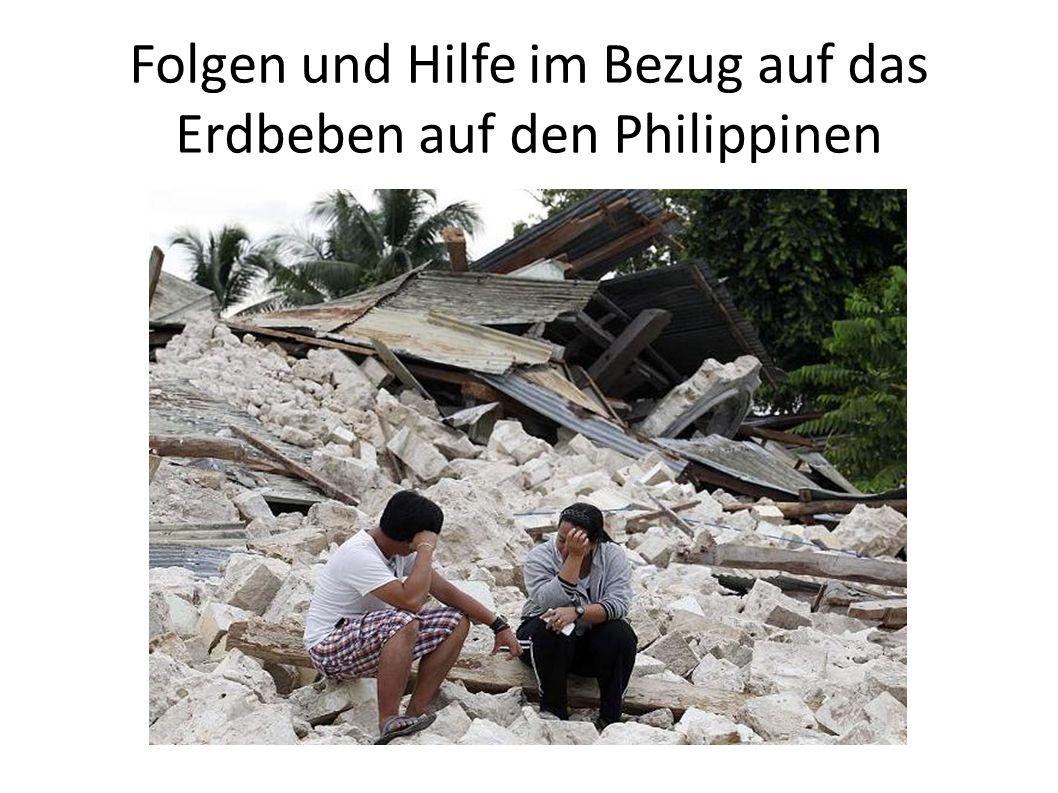 Wiederaufbau der Infrastruktur Spenden von rund 470 000 Aufgrund des Taifuns weniger Aufmerksamkeit Nur eine Hilfsorganisation war vor Ort Immer noch Probleme mit Wasserversorgung Viele Obdachlose Einsturzgefahr der Schulen Viele wollen Bohol verlassen