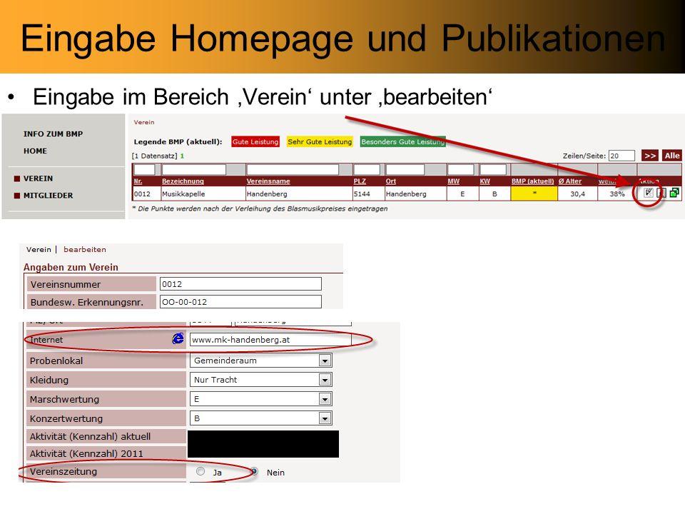 Eingabe Homepage und Publikationen Eingabe im Bereich Verein unter bearbeiten
