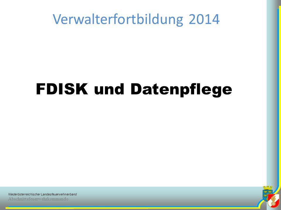 Niederösterreichischer Landesfeuerwehrverband Abschnittsfeuerwehrkommando FDISK Benutzerlogin Erstlogin (FW_TTTTTT_FFFF) nur als Backup Jeder FDISK-Benutzer sein eigenes Login